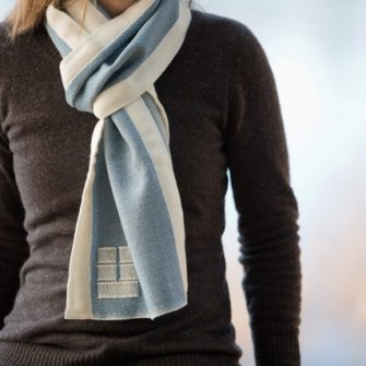 Swans Island Marine with White Trim Scarf