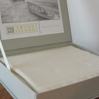 Swans Island White with Grey Stripes Throw Box