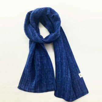 Basketweave Scarf - nautical blue
