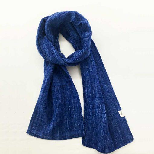 Basketweave Scarf - nautical blue