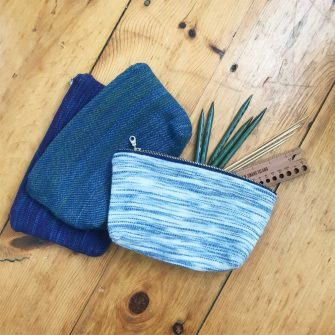 Watercolors Zipper Pouch as knitting toolbag