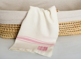 Grace Collection, White with Rose Quartz Stripes