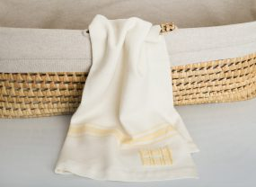 Grace Baby Blanket, White with Maize Stripes