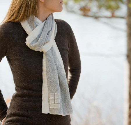 Swans Island Seasmoke with White Trim Scarf