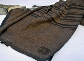 Swans Island Brown with Dark Brown Stripes Blanket