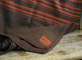 Swans Island Brown with Orange Stripes Blanket