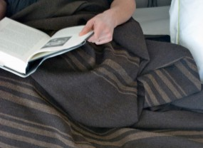 Swans Island Dark Brown with Brown Stripes Blanket