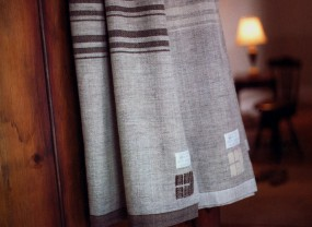 Swans Island Grey with Brown Stripes Blanket