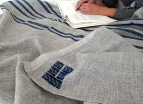 Swans Island Grey with Indigo Stripes Blanket