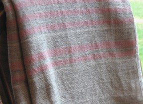 Swans Island Grey with Rose Stripes Blanket