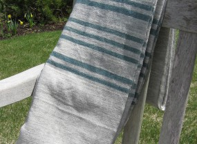 Swans Island Grey with Teal Stripes Blanket