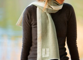 Swans Island Tarragon with White Trim Scarf
