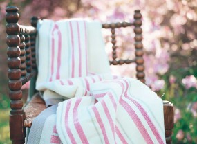 Swans Island White with Rose Stripes Blanket