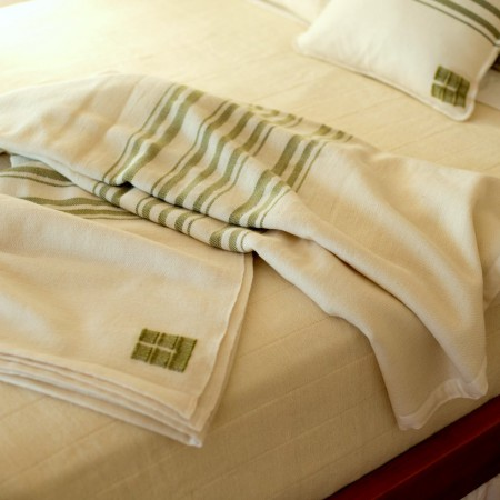 Swans Island White with Tarragon Stripes Blanket