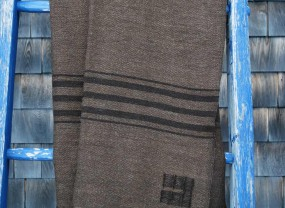 Swans Island Brown with Dark Brown Stripes Throw