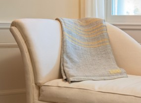 Swans Island Grey with Yellow Stripes Blanket