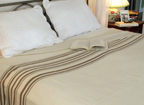 Swans Island White with Brown Stripes Blanket