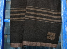 Swans Island Dark Brown with Brown Stripes Throw