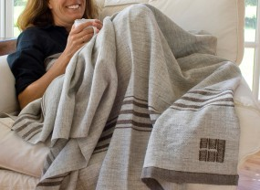 Swans Island Grey with Brown Stripes Throw