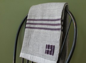 Swans Island Grey with Purple Stripes Throw
