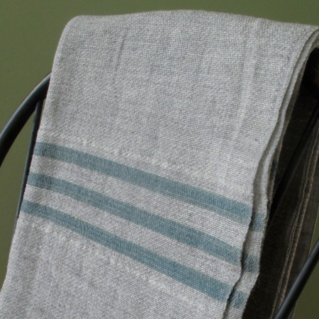 Swans Island Grey with Teal Stripes Throw