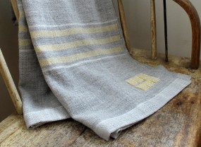 Swans Island Grey with Yellow Stripes Throw