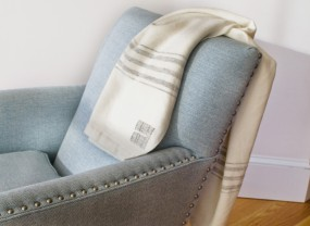 Swans Island White with Grey Stripes Throw