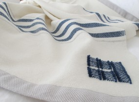 Swans Island White with Indigo Stripes Throw