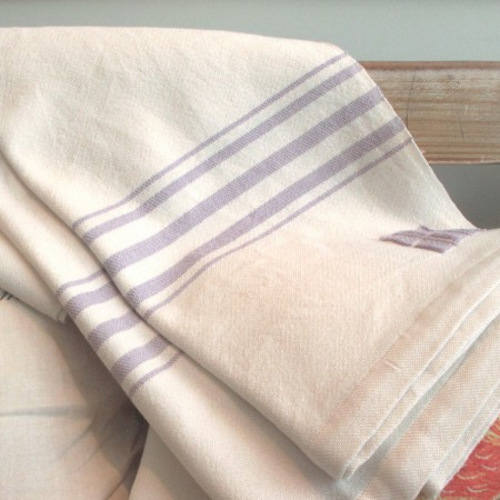 Swans Island White with Lilac Stripes Throw