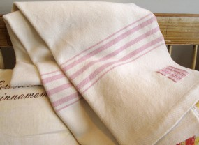 Swans Island White with Rose Stripes Throw