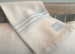 Swans Island White with Sky Blue Stripes Throw