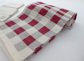 Swans Island Red, Grey and White Checks Blanket