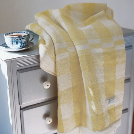 Swans Island White with Yellow Checks Blanket