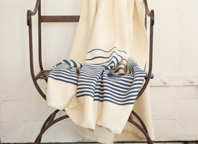 Penobscot Throw, White with Nautical Blue Stripes