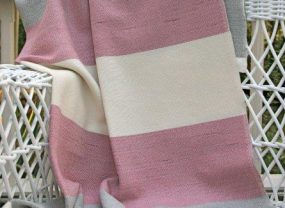 Maine Coast Throw, Raspberry, White & Seasmoke